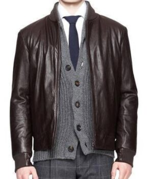 Mens Front Zip Bomber Leather Jacket