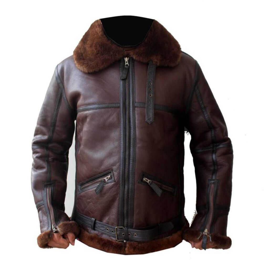 fb04821df B3 Mens Aviator RAF Bomber Reddish Shaded Sheepskin Fur Leather Jacket