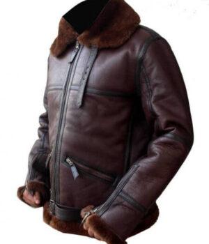 B3 mens Aviator RAF Bomber Reddish Shaded Sheepskin fur leather Jacket