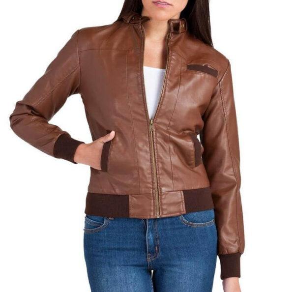 Bendy Women Bomber Leather Jackets 1