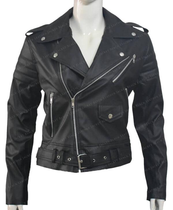 Biker Leather Jackets Stripes Women Front