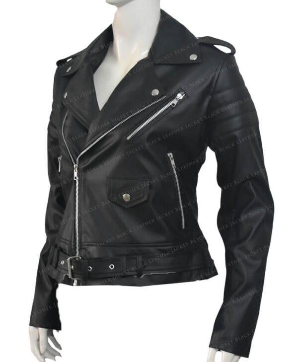 Biker Leather Jackets Stripes Women Left Side