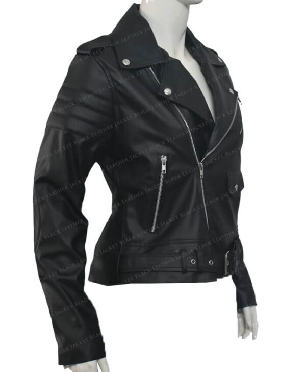 Biker Leather Jackets Stripes Women Right Side