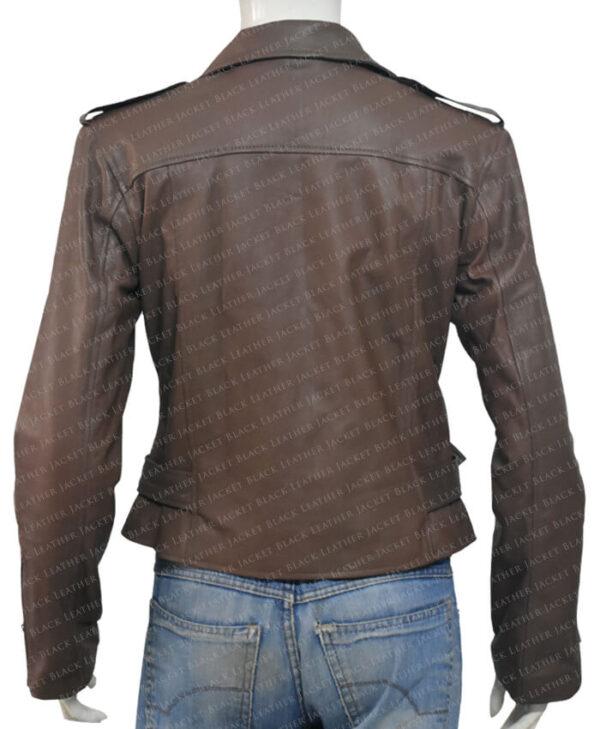 Classic Nancy Women Leather Jacket Back