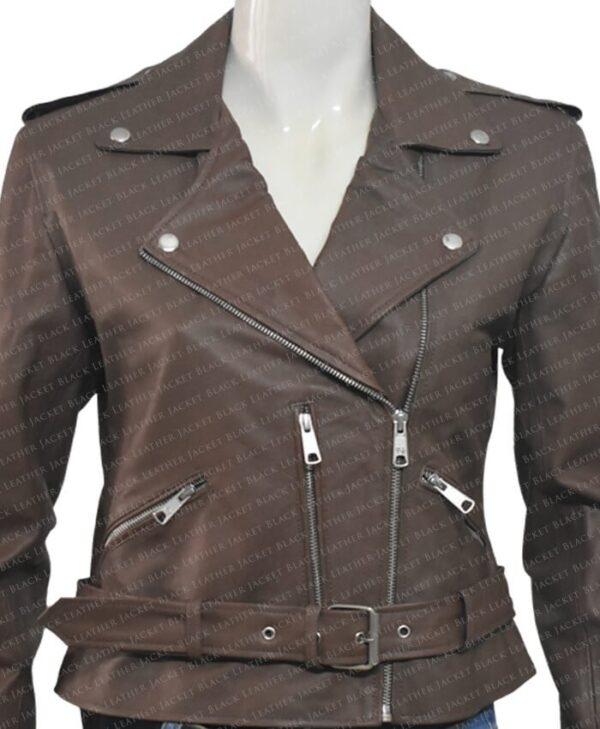 Classic Nancy Women Leather Jacket Front