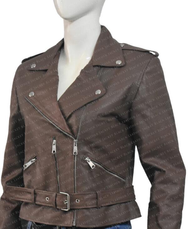 Classic Nancy Women Leather Jacket Left Side