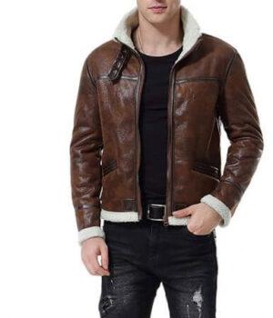 Distress Brown Faux Fur Jacket Men's Motorcycle Bomber1