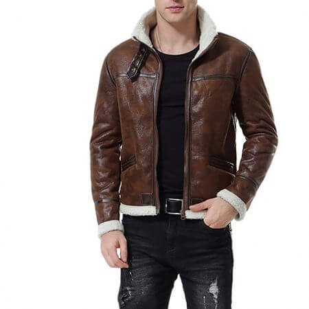 Distress Brown Faux Fur Jacket Men's Motorcycle Bomber1