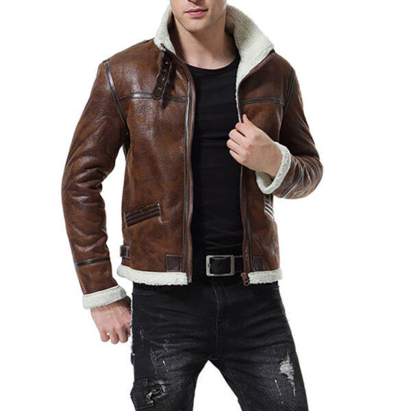 Distress Brown Faux Fur Jacket Men's Motorcycle Bomber3