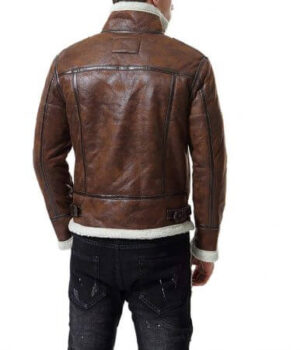 Distress Brown Faux Fur Jacket Men's Motorcycle Bomber4
