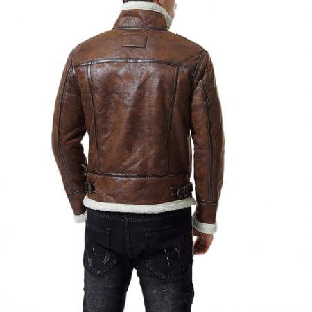 Distress Brown Faux Fur Jacket Men's Motorcycle Bomber4