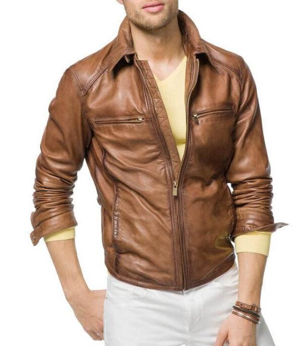 Men Biker Leather Jackets Tan Brown 1