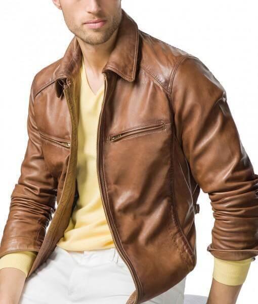 Men Biker Leather Jackets Tan Brown 2