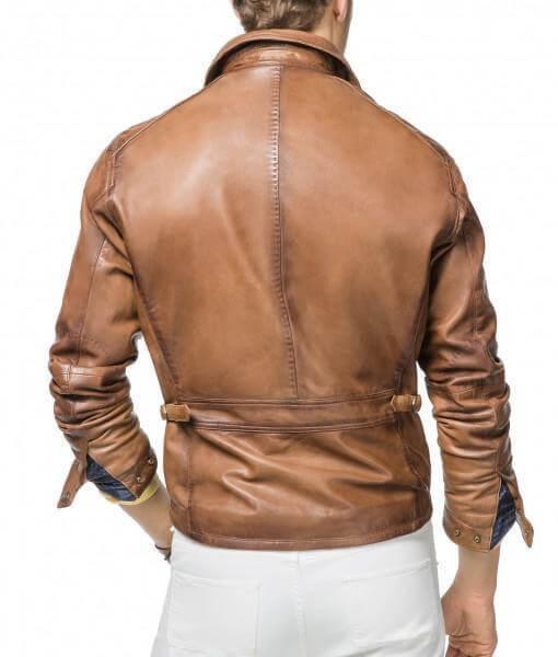 Men Biker Leather Jackets Tan Brown 3