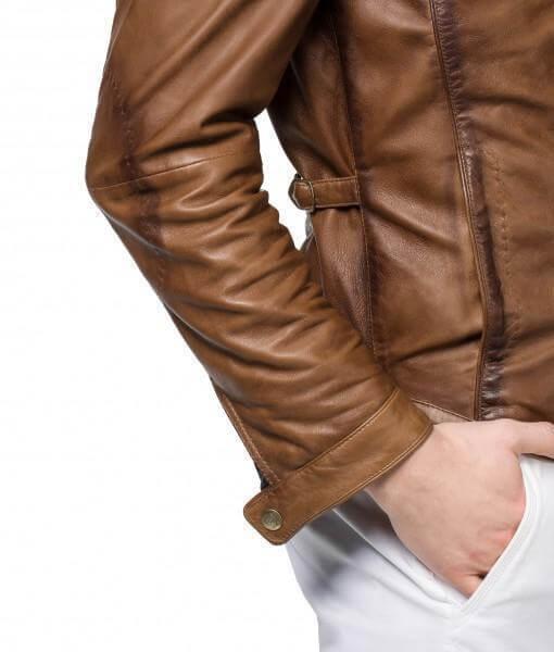Men Biker Leather Jackets Tan Brown 4
