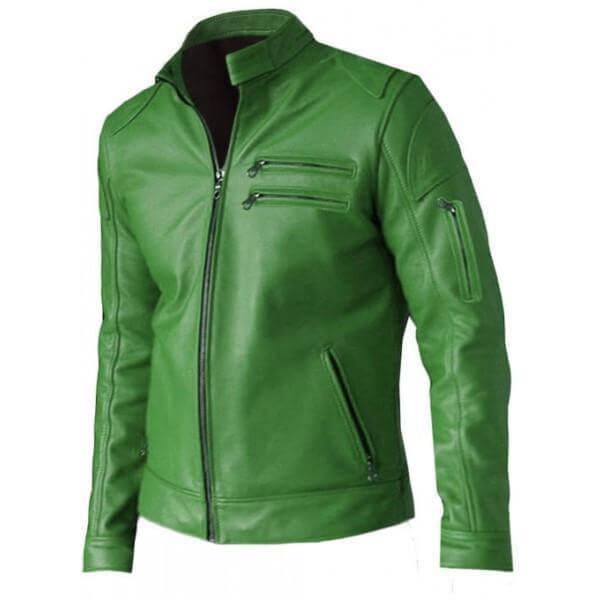 Men Green Leather Jacket Regular Fit Part Wear 1