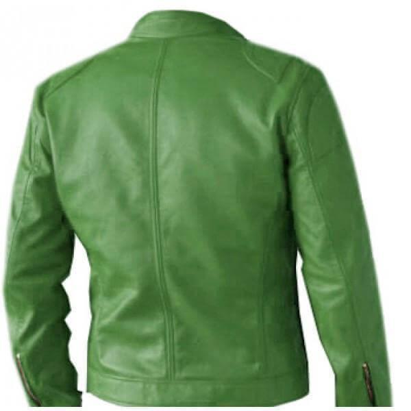 Men Green Leather Jacket Regular Fit Part Wear 2