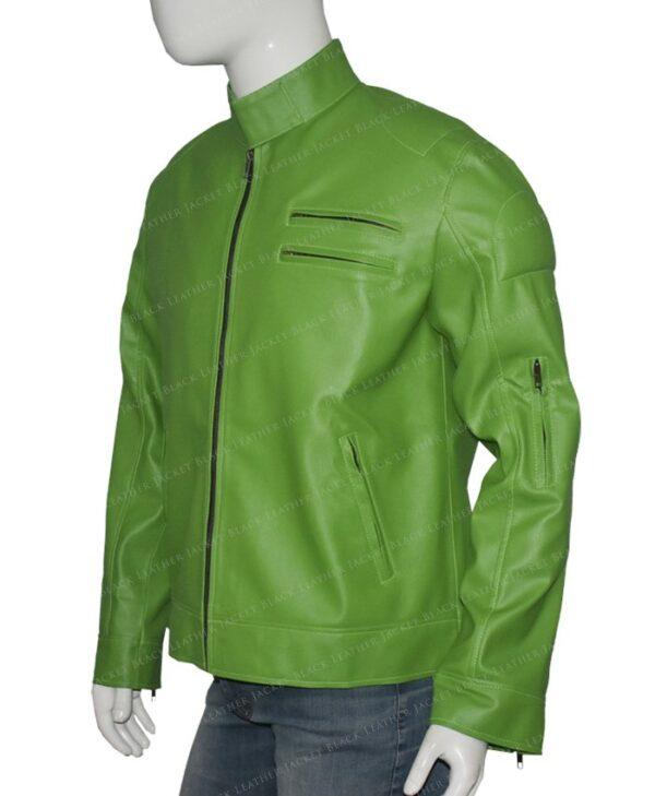Men Green Regular Fit Part Wear Leather Jacket
