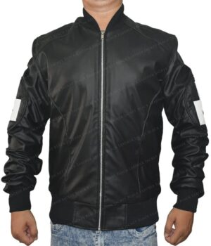 Men's 8 Ball Bomber Leather Jacket Front