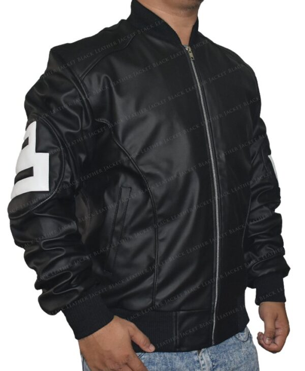 Men's 8 Ball Bomber Leather Jacket Right Side