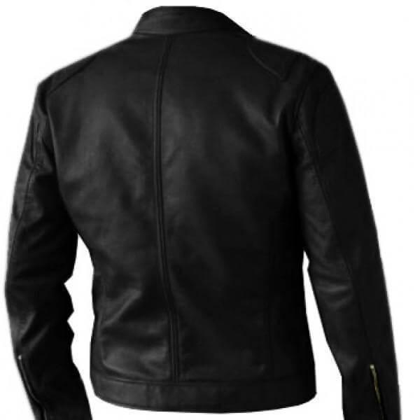 Premium Quality Men's Biker Black Leather Jacket Back