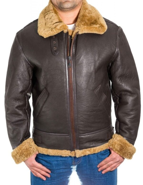 B-3 Aviator Shealing Bomber Leather Jacket