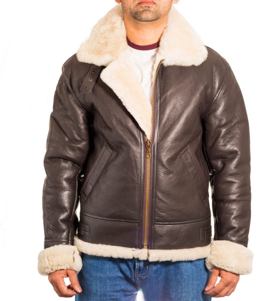 Mens Avaitor B3 Bomber Shearling Brown Genuine Sheep Leather Jacket