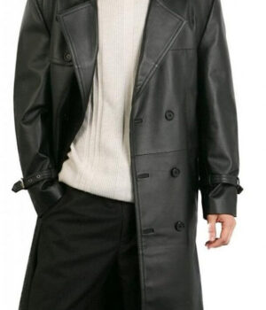 Pure Faux Leather Overcoat Black Biker Style Double Breasted Augusta Guys3