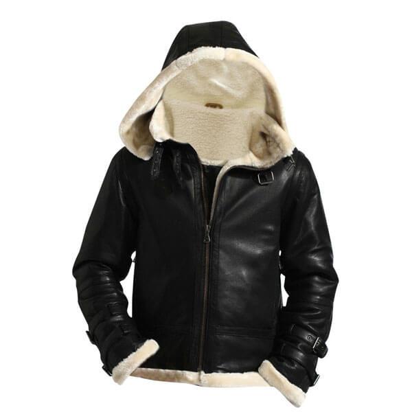 Removable Hood Fur Jacket B3 Flying Bomber Genuine Sheepskin Leather1
