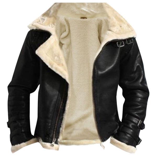 Removable Hood Fur Jacket B3 Flying Bomber Genuine Sheepskin Leather2