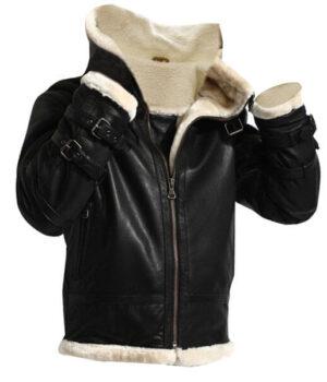 Removable Hood Fur Jacket B3 Flying Bomber Genuine Sheepskin Leather3