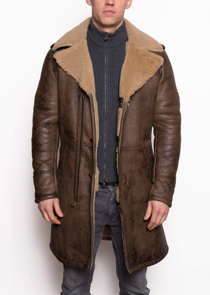 Parka Made of Shearling Fokker Trench Coat Men | Black Leather Jacket