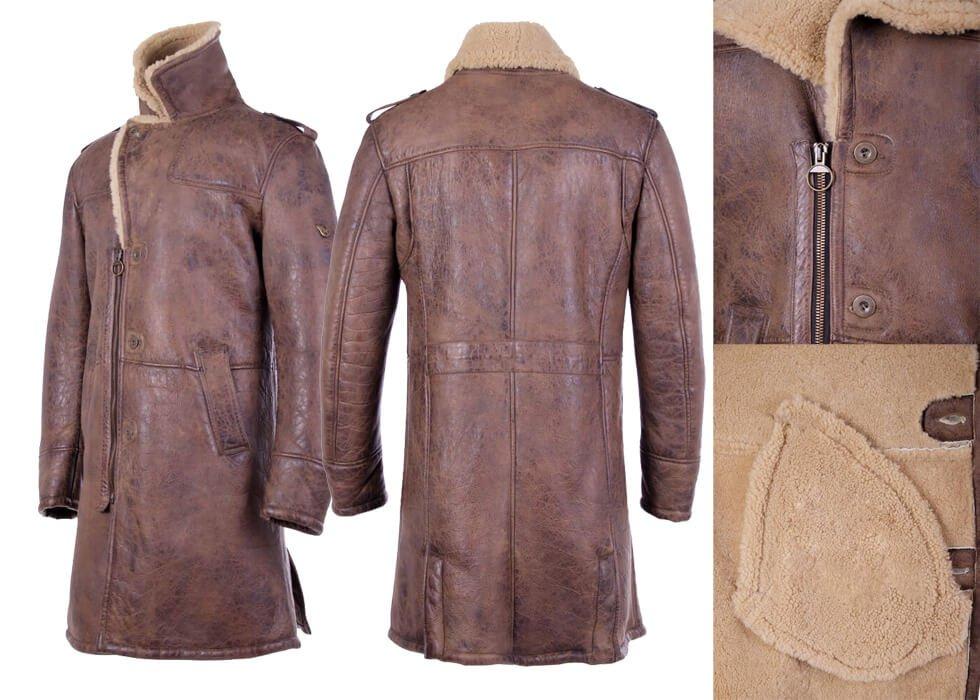 Parka Made Of Shearling Fokker Trench Coat Men Black Leather Jacket