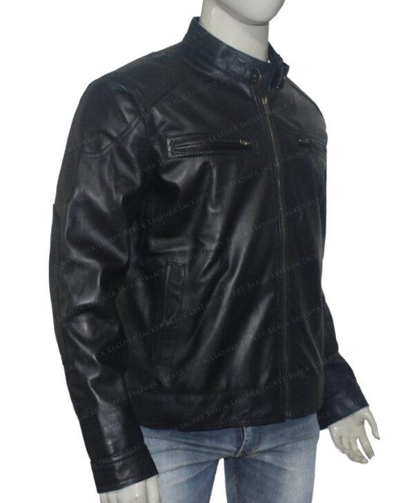 Bluster Men Biker Leather Jacket Right