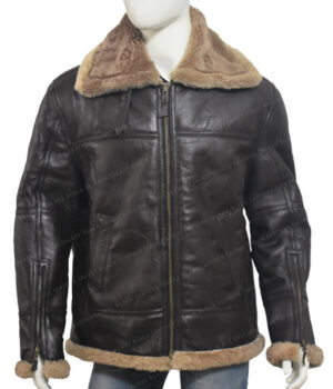 Men's Dark Brown B-3 Aviator White Sheepskin Jacket