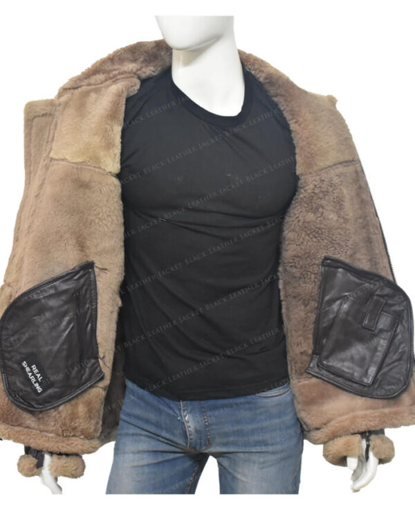 Men's Dark Brown B-3 Aviator White Sheepskin Jacket Inner