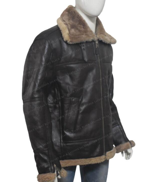 Men's Dark Brown B-3 Aviator White Sheepskin Jacket Side
