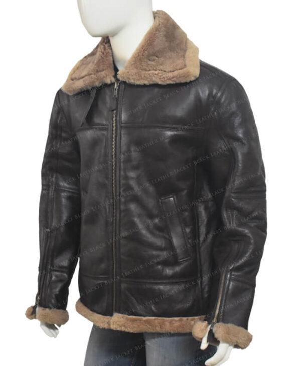 Men's Dark Brown B-3 Aviator White Sheepskin Jacket Right Side