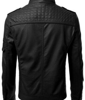 Motorcycle Mens Slim Fit Black Leather Jacket