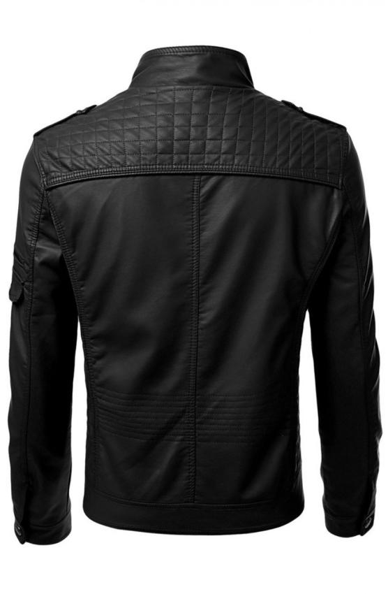 Motorcycle Mens Slim Fit Black Leather Jacket