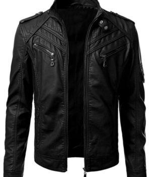 Mens Slim Fit Black Biker Leather Jacket
