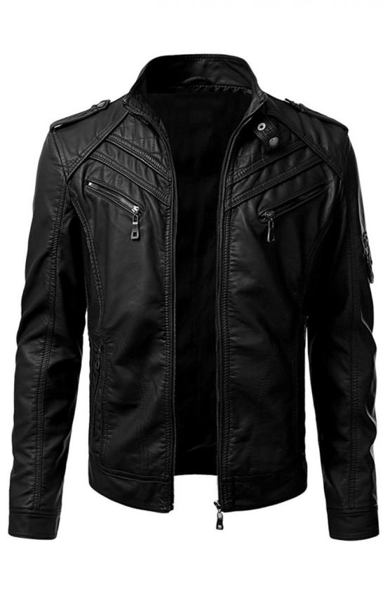 Mens Slim Fit Black Biker Leather Jacket