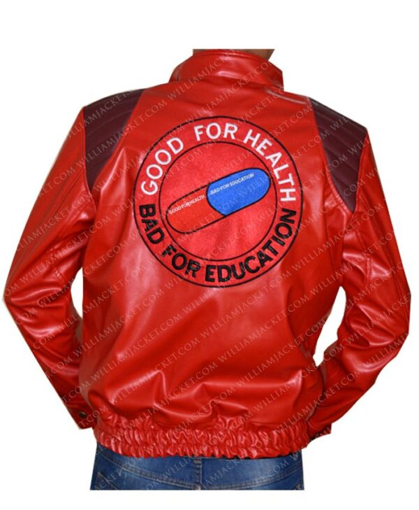 Red Akira Good For Health Bad For Education Leather Jacket