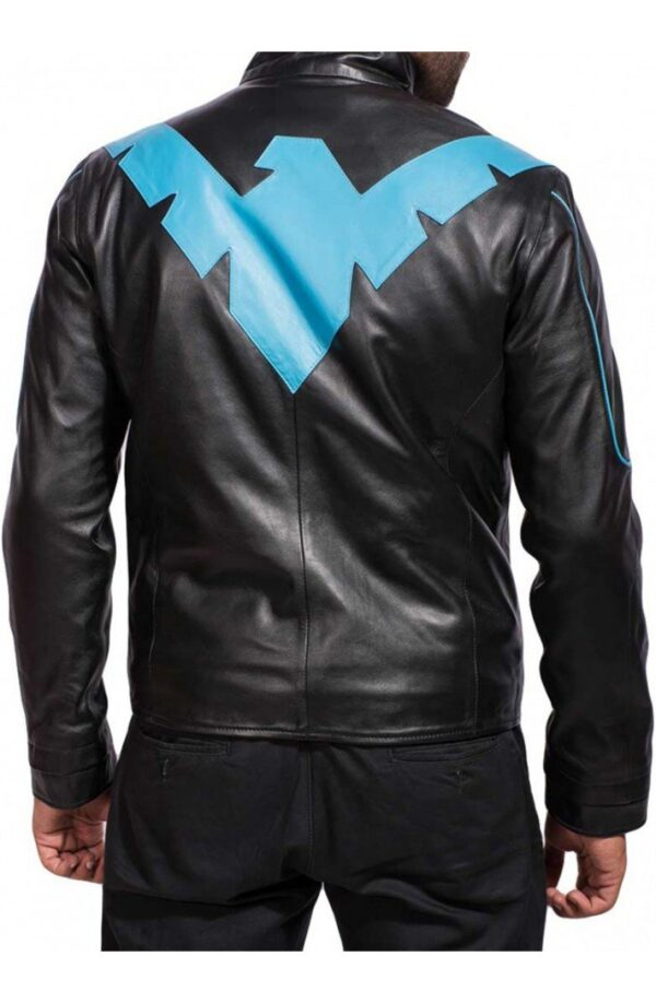 Nightwing Arkham Knight Black Leather Jacket