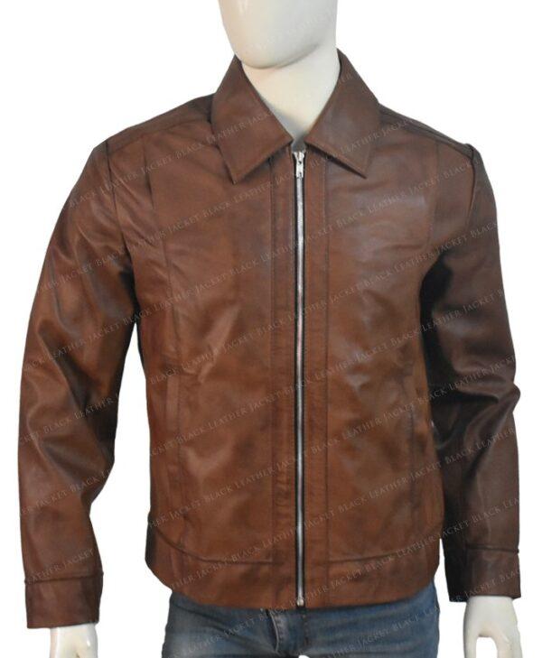 Keanu Reeves John Wick Movie Brown Leather Jacket Front
