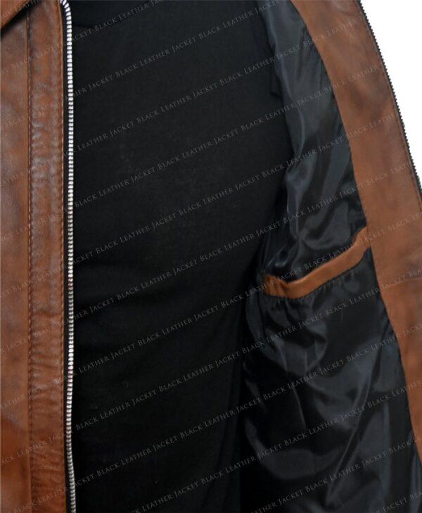Keanu Reeves John Wick Movie Brown Leather Jacket Inside