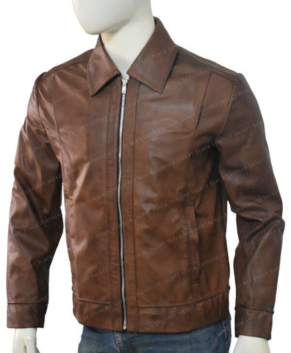 Keanu Reeves John Wick Movie Brown Leather Jacket Left Side 2
