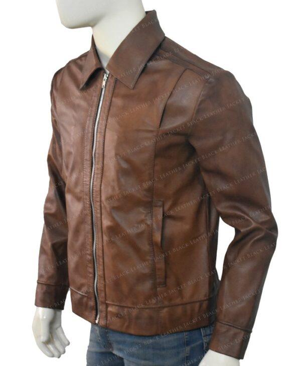 Keanu Reeves John Wick Movie Brown Leather Jacket Left Side