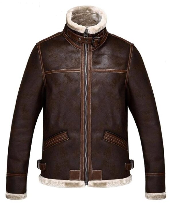 Resident Evil 4 Leon Kennedy Shearling Brown Jacket