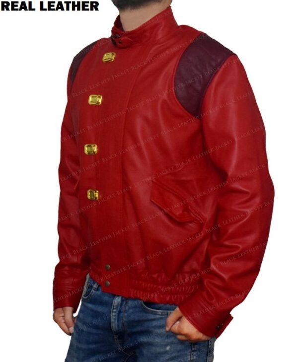 Red Akira Kaneda Leather Jacket Left Side
